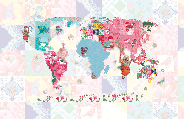 Vintage Chic fototapeta World Map Patterns - mapa světa